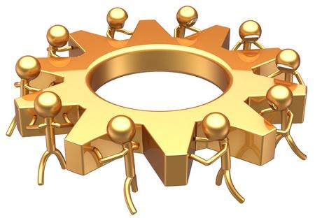 gestion empresarial: Concepto de �xito de trabajo en equipo de negocios. Mejor sue�o equipo comunidad Asociaci�n abstracto. Trabajadores estilizados pasando juntos una rueda de engranaje total de oro. Procesamiento 3D detallada. Aislados en fondo blanco