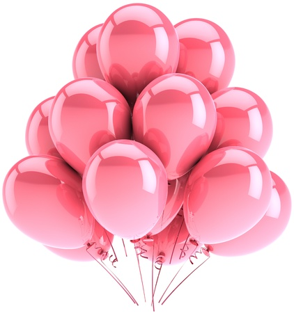Party balloons colored pink. Romantic tenderness sentimental emotions. Beautiful sentimental holiday decoration classic. This is a detailed three-dimensional render 3d. Isolated on white background photo
