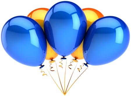 Partei Balloons blau Orange multicolor. Fünf glänzend colorful dekoration für Urlaub Geburtstagsfeier. Freudig glück positiven Emotionen abstrakt. Detaillierte 3D-Render. Isolated on white background Standard-Bild