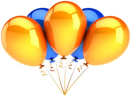 Party balloons orange blue multicolor. Five contemporary shiny decoration for birthday holiday celebration. Joyful happiness sunny emotions abstract. Detailed 3D render. Isolated on white background photo