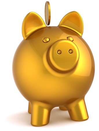 cheap: Piggy bank total golden with coin over it. Business money donate banking savings luxury concept. This is a detailed three-dimensional render 3d (Hi-Res). Isolated on white background