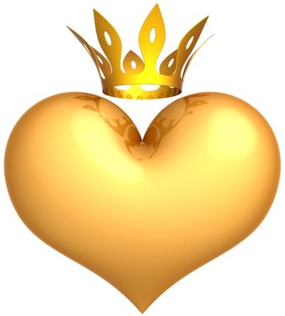 rey: Coraz�n de oro con un resumen de la corona de rey. Concepto de amor real. Reina rom�ntica de amistad. Se trata de un procesamiento 3D detallado. Aislados en fondo blanco