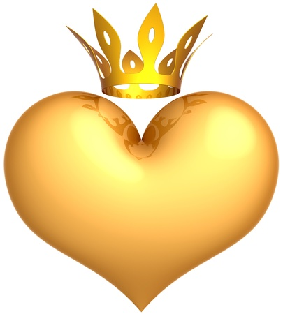 king crown: Heart of King golden with a crown abstract. Royal Love concept. Romantic queen friendship. This is a detailed 3D render. Isolated on white background Stock Photo