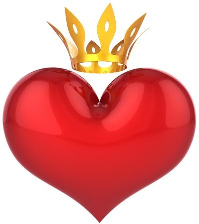 corona reina: Coraz�n de rey abstracta. Concepto de suerte amante. Forma de gran coraz�n brillante rojo con una corona de oro. Se trata de una representaci�n 3D detallada (alta resoluci�n). Aislados en blanco. Amor salvar� el mundo!