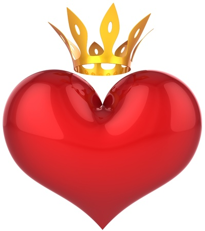 king and queen of hearts: Heart of king abstract. Lucky lover concept. Big red shiny heart shape with a golden crown. This is a detailed 3D rendering (Hi-Res). Isolated on white. Love will save the world! Stock Photo