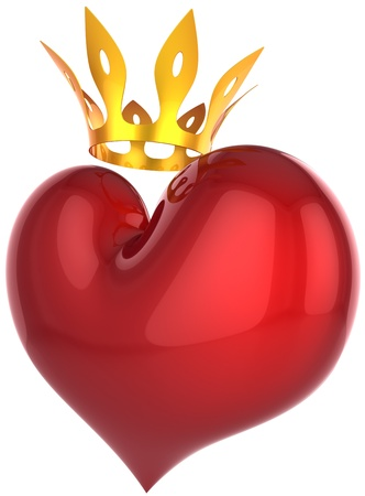 king of hearts: King heart abstract. Lucky darling concept. Beautiful red heart shape with a shiny golden crown. This is a detailed 3D rendering (Hi-Res). Isolated on white. Love will save the world! Stock Photo