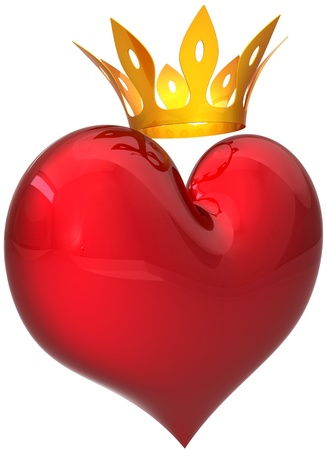 king and queen of hearts: Royal heart with a golden crown. King valentine concept. This is a detailed three-dimensional rendering 3D (Hi-Res). Isolated on white background. Love will save the world!