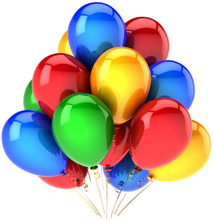 best party: Party balloons beautiful multicolor decoration. Happy joy emotion abstract. Holiday birthday celebration performance concept. High quality three-dimensional 3D render. Isolated on white background Stock Photo