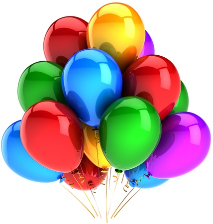 multicolor: Party balloons decoration multicolor. Fun happy joy abstract. Holiday festival celebration concept. High quality three-dimensional 3D render. Isolated on white background