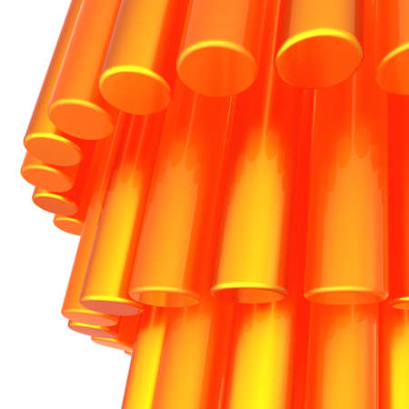 Background abstract with burning vibrant orange cylinders. This is a detailed three-dimensional 3D render. Isolated on white background Stock Photo - 9360861