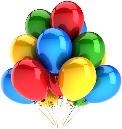 globos de cumplea�os: Cl�sico de decoraci�n multicolor cumplea�os moderno Partido globos. Resumen de emoci�n alegre de la felicidad. Concepto de celebraci�n de la fiesta. Se trata de un procesamiento 3D detallado. Aislados en fondo blanco