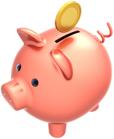 Piggy bank pink ceramic classic with coin over it. Money banking payment finance donate savings wealth concept. This is a detailed three-dimensional 3D render (Hi-Res). Isolated on white background photo