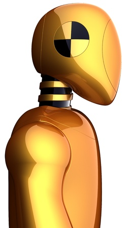 Cyborg crash test dummy golden. Futuristic research robot concept. This is a detailed 3D render (Hi-Res). Isolated on white background Stock Photo - 9396396