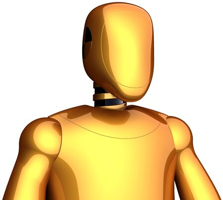 Cyborg crash test dummy golden robot. Futuristic research spaceman concept. This is a detailed 3D render (Hi-Res). Isolated on white background photo