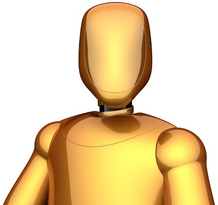 Crash test dummy golden cyborg. Futuristic astronaut robot concept. This is a detailed 3D render (Hi-Res). Isolated on white background Stock Photo - 9418564