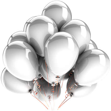 White balloons. Modern birthday celebrate party decoration. Happiness joyful clean abstract. This is a detailed three-dimensional render 3d. Isolated on white background Stock Photo - 9418567