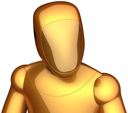 Robot crash test dummy golden. Futuristic cyborg astronaut concept. Communication with extraterrestrial intelligence abstract. This is a high quality 3D render. Isolated on white background photo