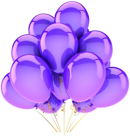 Purple party balloons classic. Contemporary shiny decoration for holiday birthday celebration. Happiness joyful positive emotions abstract. High quality 3D render. Isolated on white background photo