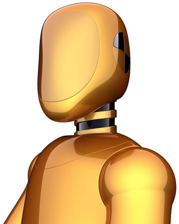 Robot crash test dummy golden cyborg.  photo