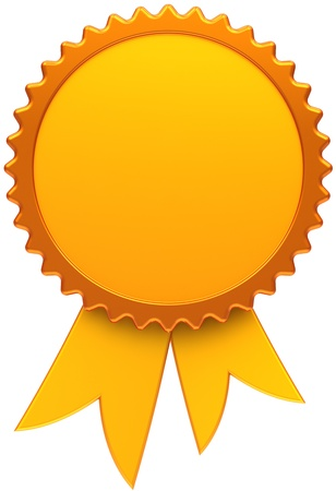 advantage: Award ribbon golden blank. Medal icon of winner with copy-space template design element. This is a high quality three-dimensional render cgi. Isolated on white background