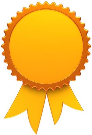 premios: Blanco de cinta dorada de premio. Icono de medalla del ganador con el elemento de dise�o de plantilla de copia-espacio. Se trata de un cgi de procesamiento tridimensional de alta calidad. Aislados en fondo blanco Foto de archivo