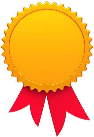 first prize: Award medal golden with red ribbon. Blank round copy-space design element. This is a high quality three-dimensional render 3d. Isolated on white background Stock Photo