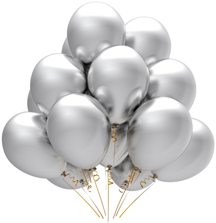 Party silver balloons. Modern white birthday holiday anniversary decoration. Happiness joyful concept. This is a detailed three-dimensional render 3d. Isolated on white background