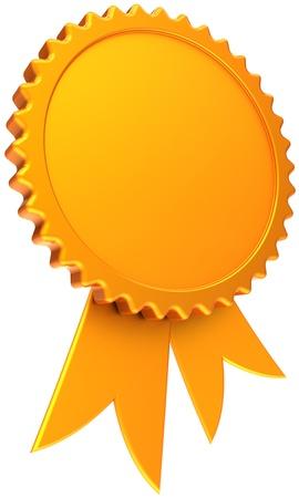 certificado: Premio cinta en blanco total oro. Icono de medalla brillante ganador con espacio de copia. Plantilla de elemento de dise�o de certificado de lujo. Se trata de una alta calidad tridimensional procesamiento 3d. Aislados en fondo blanco