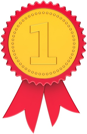 legen: Erste Platz Auszeichnung golden mit roten Rand und Band. Gewinner 1st Nummer eins Abzeichen-Symbol. Dies ist ein hochwertiges CG dreidimensionale render 3d. Isolated on white background Lizenzfreie Bilder