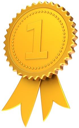 rosette: En primer lugar la cinta de oro. Icono de la medalla de campe�n n�mero uno. Ganador elemento plantilla de dise�o cl�sico. Se trata de un procesamiento 3d tridimensional de alta calidad CG. Aislados en fondo blanco Foto de archivo