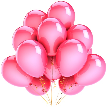 Balloons party decoration colorful pink. Romantic happiness holiday abstract. Birthday anniversary celebration concept. This is a detailed CG three-dimensional 3D render. Isolated on white background photo