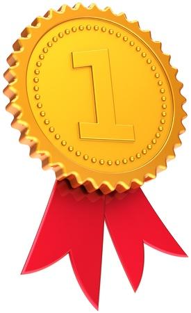 numero uno: Premio nastro dorato primo posto vincitore. Numero uno icona medaglia. Campione del concetto di vittoria. Si tratta di un alta qualit� CG tridimensionali 3D rendering. Isolato su sfondo bianco