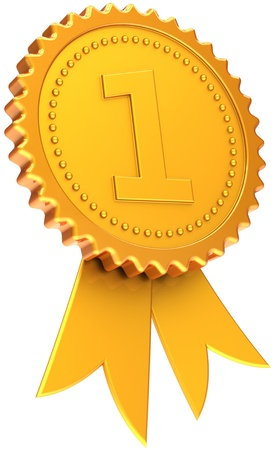 Award ribbon first place golden, high quality CG in 3D. Isolated on white background photo