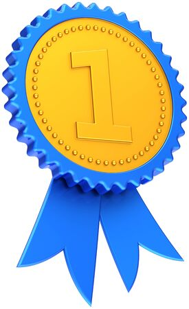 best place: Winner award ribbon golden with blue border, high quality CG in 3D. Isolated on white background Stock Photo