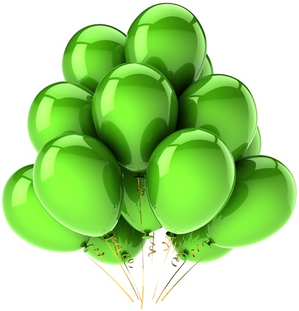 Birthday balloons green party decoration, high quality CG in 3D. Isolated on white background photo