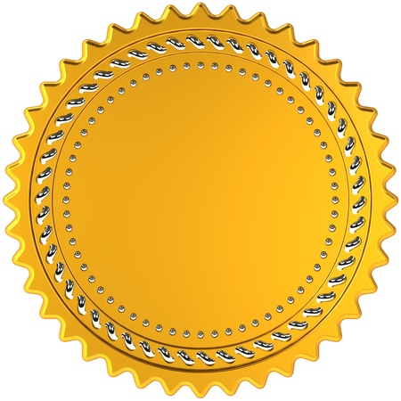 Award medal seal golden blank with silver details, high quality CG in 3D. Isolated on white background Banque d'images