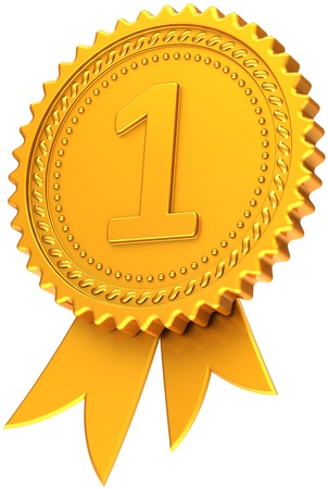 First place award ribbon golden. Achievement champion medal icon. Winner pride design element template classic. This is a high quality CG three-dimensional 3d render. Isolated on white background