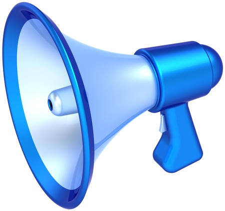 a public notice: Megaphone news message communication colored blue. Classic bullhorn loudspeaker announcement symbol. Support education concept. This is a detailed CG 3D render (Hi-Res). Isolated on white background