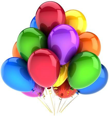 globos de cumplea�os: Globos cumplea�os parte vacaciones decoraci�n multicolor. Diversi�n feliz alegr�a abstracto. Concepto de saludo de celebraci�n de aniversario. Se trata de una detallada CG tridimensional procesamiento 3d. Aislados en fondo blanco Foto de archivo