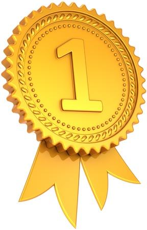 numero uno: Premio nastro dorato primo posto vincitore. Il numero uno campione icona medaglia successo. Leadership orgoglio elemento di design. Si tratta di un alta qualit� CG tridimensionali rendering 3D. Isolato su sfondo bianco