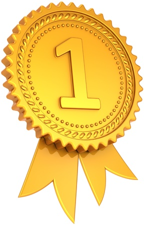 Award ribbon golden first place winner. Number one medal champion success icon. Leadership pride design element. This is a high quality CG three-dimensional 3d render. Isolated on white background Banque d'images