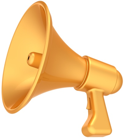 Megaphone announcement news golden luxury icon. Shiny glamour bullhorn message loudspeaker communication. Grand opening sale concept. This is a detailed CG 3D render. Isolated on white background Banque d'images