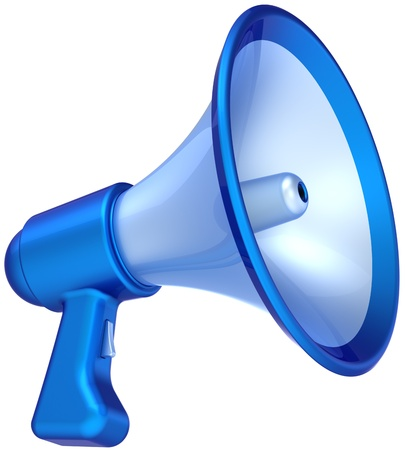 Megaphone announcement news message colored blue. Bullhorn loudspeaker communication symbol classic. Help education concept. This is a detailed CG 3D render (Hi-Res). Isolated on white background photo