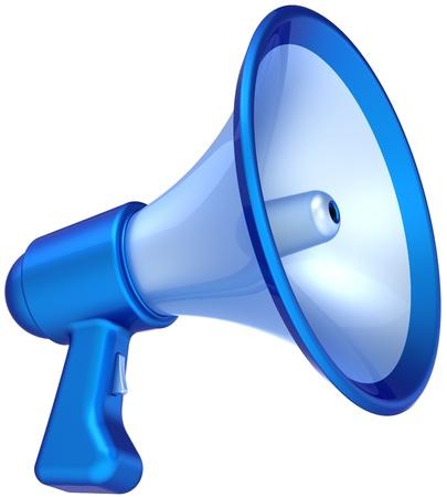alerta: Mensaje de noticias de anuncio de meg�fono de color azul. Meg�fono altavoz comunicaci�n s�mbolo cl�sico. Ayudar a concepto de educaci�n. Se trata de un procesamiento 3D CG detallado (alta resoluci�n). Aislados en fondo blanco Foto de archivo