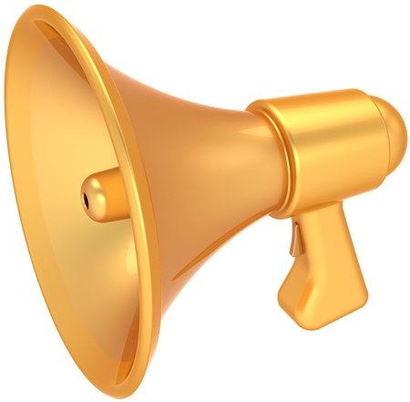 Megaphone golden sale announcement luxury icon. Shiny glamour bullhorn news message loudspeaker communication. Grand opening abstract. This is a detailed CG 3D render. Isolated on white background photo