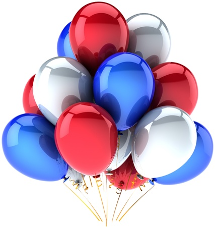 Party balloons Independence day colored. Multicolor USA national decoration for anniversary celebration. Festival joy happiness abstract. This is a detailed CG render 3D. Isolated on white background