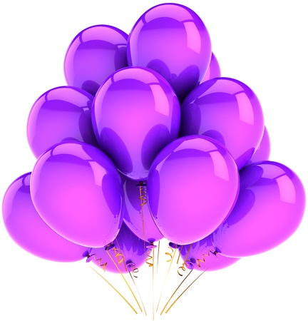 helium: Birthday balloons total purple. Classic shiny party decoration for holiday anniversary celebration. Happiness joyful fun emotion abstract. High quality CG 3D render. Isolated on white background