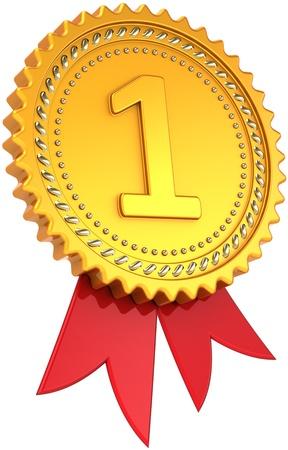 premios: El primer lugar de oro con cinta roja. Medalla de ganador de logro. Orgullo campe�n elemento plantilla de dise�o cl�sico. Se trata de un procesamiento 3d tridimensional de alta calidad CG. Aislados en fondo blanco