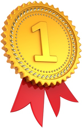 First place golden award with red ribbon. Achievement winner medal. Champion pride design element template classic. This is a high quality CG three-dimensional 3d render. Isolated on white background Banque d'images