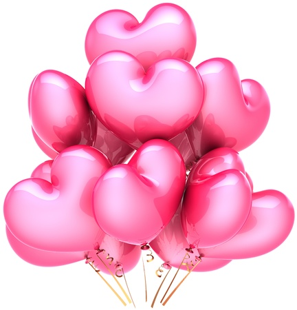 Party balloons heart shaped colored pink. Love decoration for romantic holiday. Happy birthday celebration concept. This is a detailed CG three-dimensional 3D render. Isolated on white background